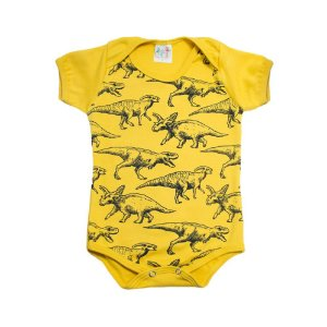 Body Bebê Dino Jeito Infantil Mostarda