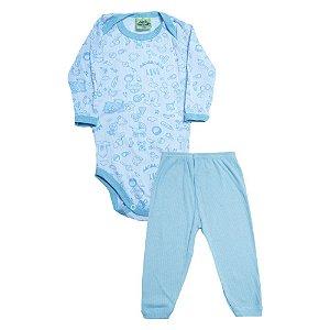 Conjunto Bebê Body Mundo Baby  Jeito Inocente Branco e Azul