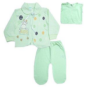 Conjunto Bebê Pagão Com Estampa Feroz Baby Verde