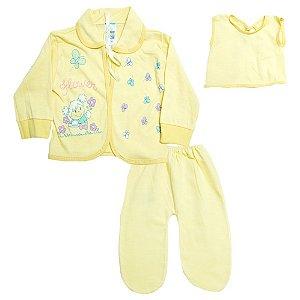 Conjunto Bebê Pagão Com Estampa Feroz Baby Amarelo