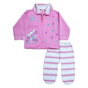 Conjunto Bebê Pagão Listras Feroz Baby Rosa