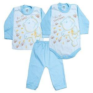 Kit Bebê Body e Blusa Feroz Baby Azul