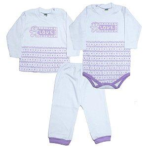 Kit Bebê Body e Blusa Feroz Baby Lilás