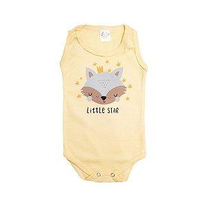 Body Regata Bebê Raposa Meu Bebê Amarelo