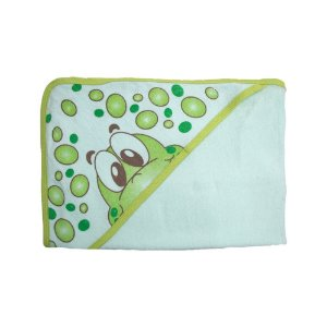 Toalha Bebê Com Touca Feroz Baby Verde