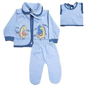 Conjunto Bebê Pagão Com Estampa Feroz Baby Azul