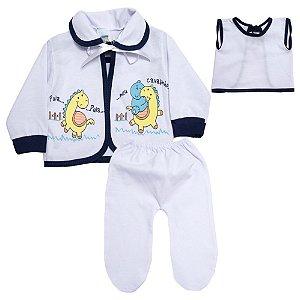 Conjunto Bebê Pagão Com Estampa Feroz Baby Branco