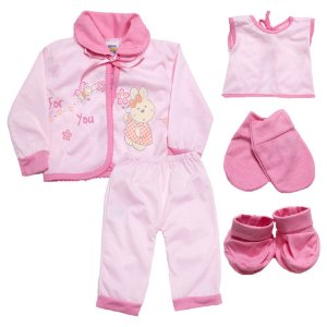 Conjunto Bebê Pagão 05 Peças Feroz Baby Rosa