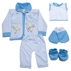 Conjunto Bebê Pagão 05 Peças Feroz Baby Azul