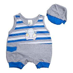 Macaquinho Bebê Com Boné Feroz Baby Mescla