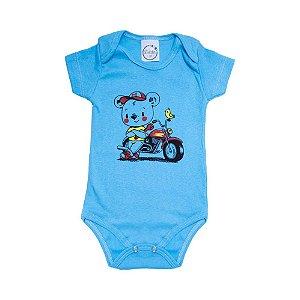 Body Bebê Urso Motoqueiro Lolita Azul