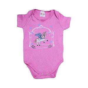 Body Bebê Unicórnio Roby Kids Pink