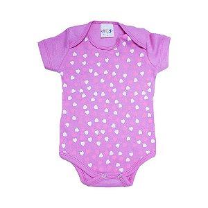 Body Bebê Corações Roby Kids Pink