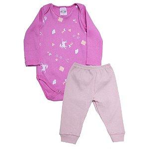 Conjunto Bebê Body Unicórnio Roby Kids Pink