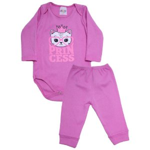 Conjunto Bebê Body Princess Roby Kids Pink