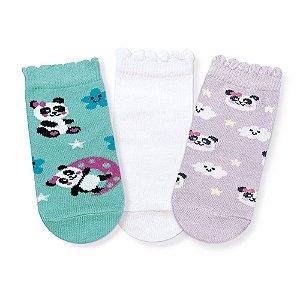 Kit Meias Soquete Bebê Panda Cia da Meia