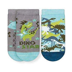 Kit Meias Soquete Bebê Antiderrapante Dino Cia da Meia