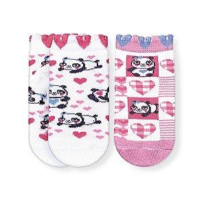Kit Meias Soquete Bebê Antiderrapante Panda Cia da Meia