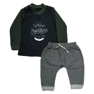 Conjunto Bebê Camiseta e Saruel Baby Gut Preto