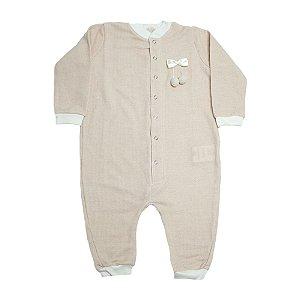 Macacão Bebê Com Laço e Pompom Baby Gut Rosê