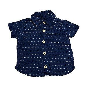 Camisa Bebê com Botão Baby Gut Marinho