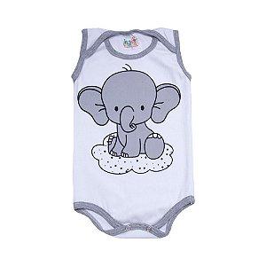 Body Regata Bebê Elefante Branco
