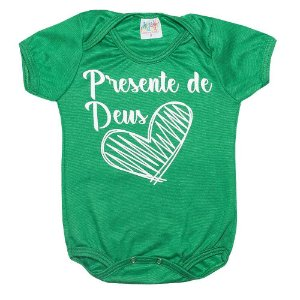 Body Bebê Frase Presente De Deus Verde