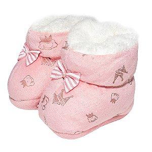 Sapatinho Pantufa Bebê Coroa Rosa