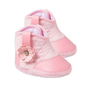 Botinha Bebê Flor Rosa
