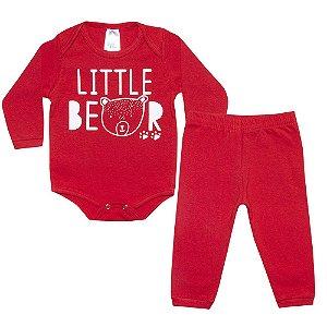 Conjunto Bebê Body Little Bear Vermelho