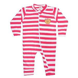 Macacão Bebê Listrado Com Aplique Ursinha Pink