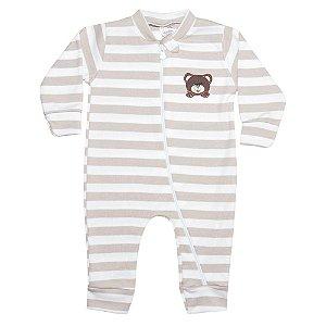 Macacão Bebê Listrado Com Aplique Urso Bege