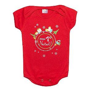 Body Bebê  Meu 1° Natal Jeito Infantil Vermelho