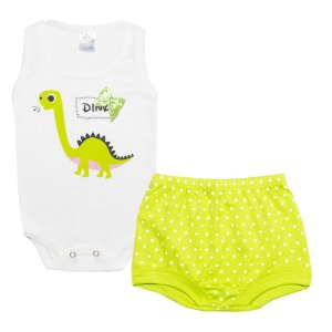Conjunto Bebê Body Dino Pérola