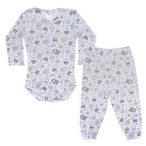 Conjunto Bebê Body Canelado Ursinhos Branco