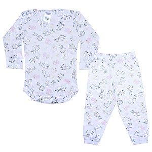 Conjunto Bebê Body Canelado Lhama Branco