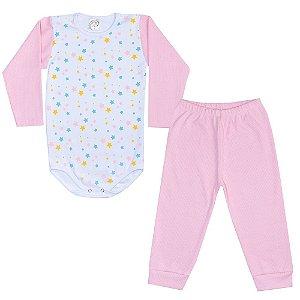 Conjunto Infantil Body Estrelas Rosa