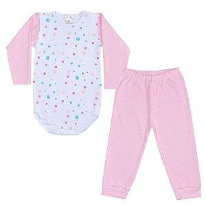 Conjunto Infantil Body Bolinhas Rosa