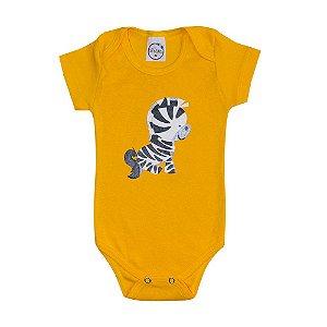 Body Bebê Zebra Amarelo