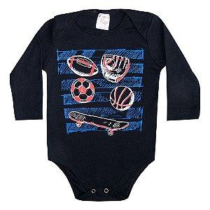 Body Bebê Manga Longa Soccer Preto
