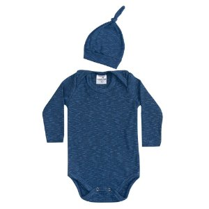 Conjunto Bebê Body e Touca Azul