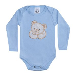 Body Bebê Manga Longa Urso Azul