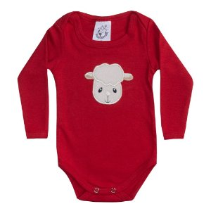 Body Bebê Manga Longa Ovelhinha Vermelho