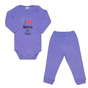 Conjunto Bebê Body Mama And Papa Roxo
