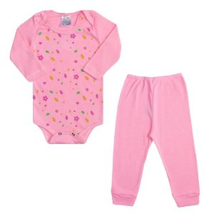 Conjunto Bebê Body Florzinhas Rosa