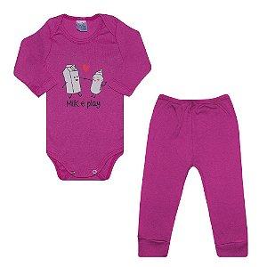 Conjunto Bebê Body Milk e Play Pink