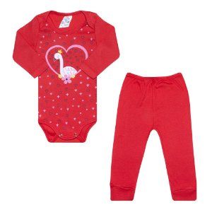 Conjunto Bebê Body Coração Vermelho