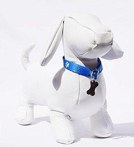 Coleira p - azul detalhes cachorro