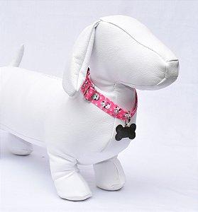 Coleira m - pink cachorrinhos
