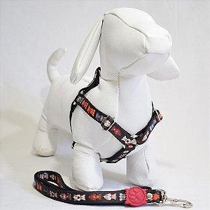 Peitoral com guia - 1 pequeno porte - preto cachorrinhos